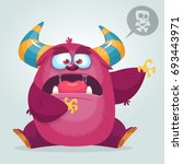 scared cartoon pink monster... | Shutterstock .eps vector #693443971