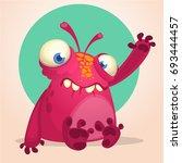 happy cartoon alien. halloween... | Shutterstock .eps vector #693444457