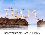ants carrying wording team ... | Shutterstock . vector #693444499