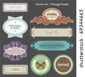 Stock vector set of ornate vintage labels 69344665