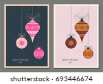 decorative christmas card in... | Shutterstock .eps vector #693446674