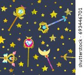 magical wands and stars. cute... | Shutterstock .eps vector #693446701