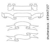 ribbon scrolls. outline icons... | Shutterstock .eps vector #693447157