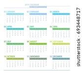 calendar 2019 year grid design... | Shutterstock .eps vector #693448717