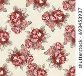 seamless floral pattern with... | Shutterstock .eps vector #693453937