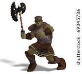 male fantasy orc barbarian with ... | Shutterstock . vector #69345736