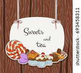 sweet banner. candy labels on... | Shutterstock .eps vector #693458311