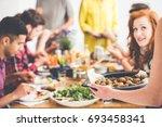 vegetarian shares baked...   Shutterstock . vector #693458341