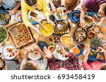 people talk and eat together... | Shutterstock . vector #693458419