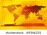 golden world map - stock photo