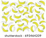 yellow bananas with silhouette | Shutterstock .eps vector #693464209