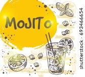 mojito cocktail card. retro... | Shutterstock .eps vector #693466654