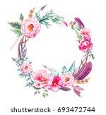 watercolor vintage eucalyptus... | Shutterstock . vector #693472744