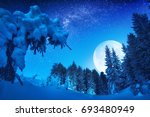 wonderful rising of full moon... | Shutterstock . vector #693480949
