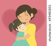 happy mother and her daughter...   Shutterstock .eps vector #693481831