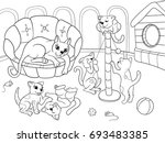 childrens coloring book cartoon ... | Shutterstock . vector #693483385