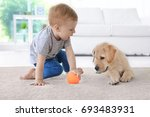 cute child with labrador... | Shutterstock . vector #693483931