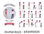 male clerks greeting ... | Shutterstock .eps vector #693490435