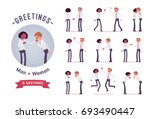 male  female clerks greeting ... | Shutterstock .eps vector #693490447
