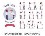 male  female clerks greeting ... | Shutterstock .eps vector #693490447
