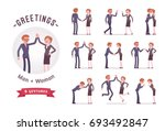 business people greeting ... | Shutterstock .eps vector #693492847