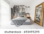king size bed with gray square... | Shutterstock . vector #693495295
