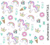 unicorn with cake  ice cream ... | Shutterstock .eps vector #693497161