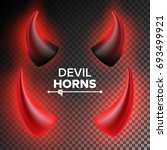 devils horns vector. red... | Shutterstock .eps vector #693499921