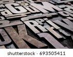 antique grungy letterpress wood ... | Shutterstock . vector #693505411
