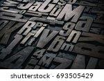 old grungy letterpress wood... | Shutterstock . vector #693505429
