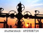 in the evening of oilfield... | Shutterstock . vector #693508714