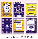 set of hand drawn sketches... | Shutterstock .eps vector #693511507