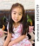 portrait of little cute girl  5 ... | Shutterstock . vector #693514759