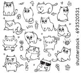 vector set with black and white ... | Shutterstock .eps vector #693520531