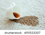 cup of coffee spilled on white... | Shutterstock . vector #693523207