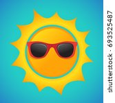 summer sun with hipster... | Shutterstock .eps vector #693525487