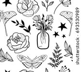 seamless pattern with hand... | Shutterstock .eps vector #693530989