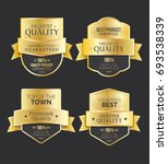 golden genuine quality badge ... | Shutterstock .eps vector #693538339