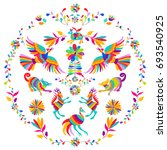 vector folk mexican otomi style ... | Shutterstock .eps vector #693540925