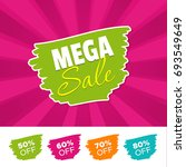 mega sale color banner and 50   ... | Shutterstock .eps vector #693549649