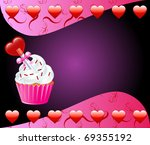 Vector Valentine Background with Heart cupcake. - stock vector