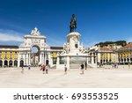commerce square in lisbon ... | Shutterstock . vector #693553525