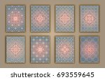 card set with mosaic lace... | Shutterstock .eps vector #693559645