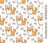 cute pattern with dog breed... | Shutterstock .eps vector #693566131