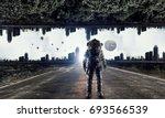 adventure of spaceman. mixed...   Shutterstock . vector #693566539