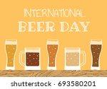 happy international beer day.... | Shutterstock . vector #693580201