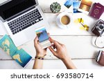 travel booking website in... | Shutterstock . vector #693580714