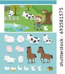 farm animal  | Shutterstock .eps vector #693581575