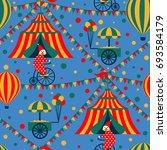retro circus tent and clown.... | Shutterstock . vector #693584179