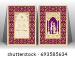 indian wedding invitation card... | Shutterstock .eps vector #693585634